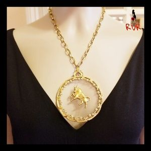VINTAGE TAURUS THE BULL PENDANT NECKLACE